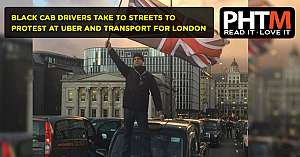 BLACK CAB DRIVERS TAKE TO STREETS TO PROTEST AT UBER AND TRANSPORT FOR LONDON