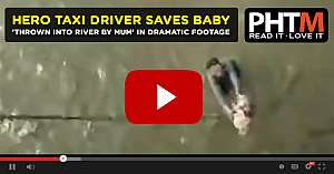 HERO TAXI DRIVER SAVES BABY THROWN INTO RIVER BY MUM IN DRAMATIC FOOTAGE