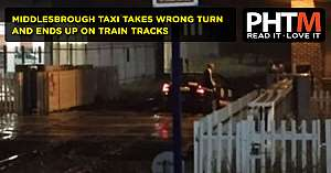 MIDDLESBROUGH TAXI TAKES WRONG TURN AND ENDS UP ON TRAIN TRACKS