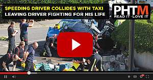 TERRIFYING MOMENT SPEEDING DRIVER COLLIDES WITH TAXI LEAVING DRIVER FIGHTING FOR HIS LIFE