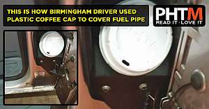 THIS IS HOW BIRMINGHAM DRIVER USED PLASTIC COFFEE CAP TO COVER FUEL PIPE