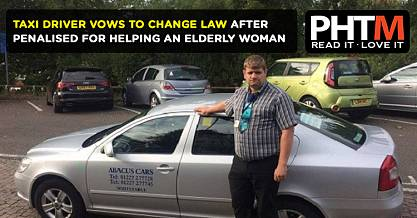 A TAXI DRIVER HAS VOWED TO CHANGE THE LAW AFTER HE WAS PENALISED FOR HELPING AN ELDERLY WOMAN