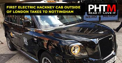 FIRST ELECTRIC HACKNEY CAB OUTSIDE OF LONDON TAKES TO THE STREETS OF NOTTINGHAM