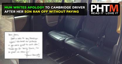 MUM WRITES APOLOGY TO CAMBRIDGE DRIVER AFTER HER SON RAN OFF WITHOUT PAYING