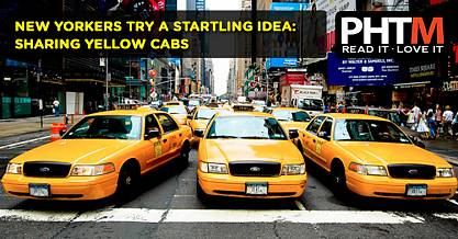 NEW YORKERS TRY A STARTLING IDEA SHARING YELLOW CABS