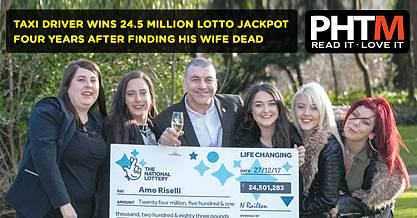 TAXI DRIVER WINS 24.5 MILLION LOTTO JACKPOT FOUR YEARS AFTER FINDING HIS WIFE DEAD OVER A CHRISTMAS