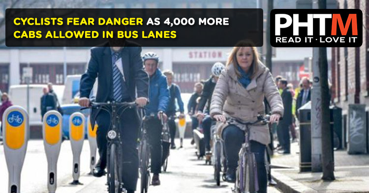CYCLISTS FEAR DANGER AS 4,000 MORE CABS ALLOWED IN BUS LANES