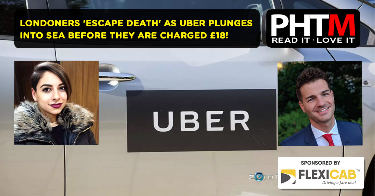 LONDONERS 'ESCAPE DEATH' AS UBER PLUNGES INTO SEA BEFORE THEY ARE 'CHARGED £18 FOR FARE'