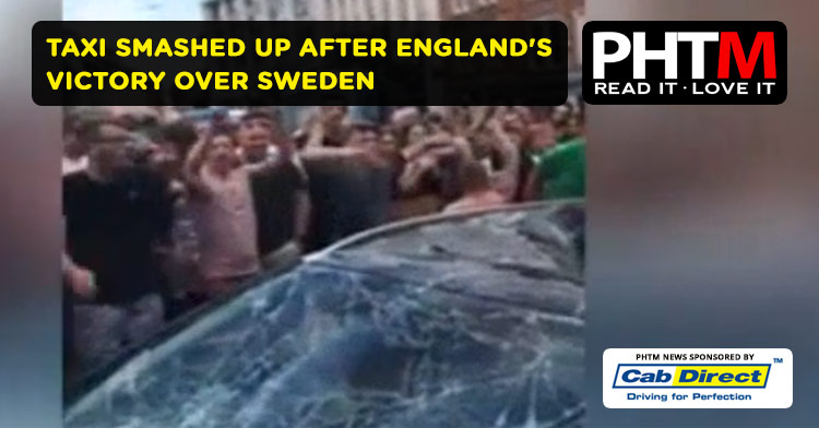 NOTTINGHAM TAXI SMASHED UP AFTER ENGLAND'S VICTORY OVER SWEDEN