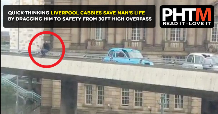 QUICK-THINKING LIVERPOOL CABBIES SAVE MAN'S LIFE BY DRAGGING HIM TO SAFETY FROM 30FT HIGH OVERPASS
