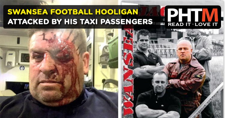 SWANSEA FOOTBALL HOOLIGAN ATTACKED BY HIS TAXI PASSENGERS