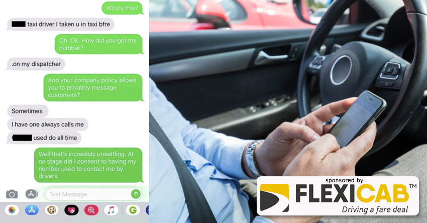 WOMAN FEELS VIOLATED BY TAXI DRIVERS MESSAGES