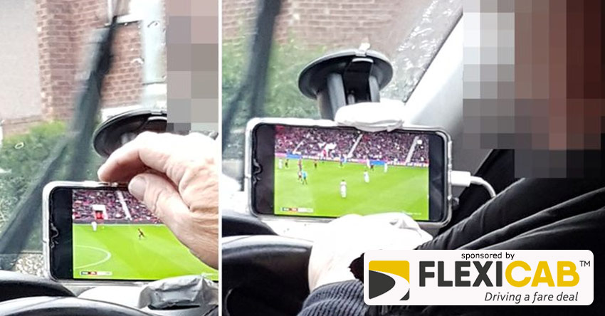 WOMANS FURY OVER TAXI DRIVER DISTRACTED BY WATCHING MANCHESTER UNITED ON HIS PHONE