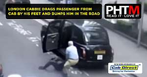 SHOCKING MOMENT LONDON CABBIE DRAGS PASSENGER FROM CAB BY HIS FEET AND DUMPS HIM IN THE ROAD