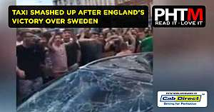 NOTTINGHAM TAXI SMASHED UP AFTER ENGLANDS VICTORY OVER SWEDEN