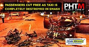 PASSENGERS CUT FREE AS TAXI IS COMPLETELY DESTROYED IN SMASH