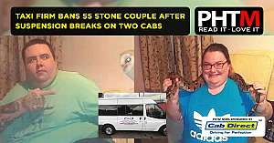 TAXI FIRM BANS 55 STONE COUPLE AFTER SUSPENSION BREAKS ON TWO CABS