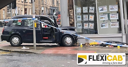 IMAGES SHOW AFTERMATH OF QUEEN STREET TAXI CRASH WHICH LEAVES MAN IN HOSPITAL