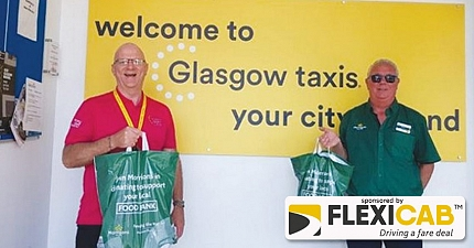 MORRISONS STAFF HAND OUT THANK YOU GOODIES TO GLASGOW CAB DRIVERS