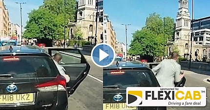 SHOCKING MOMENT FOOLISH TAXI PASSENGER RUNS INTO THE PATH OF A LONDON BUS
