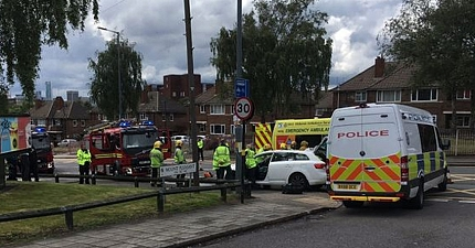 TAXI DRIVER TRAPPED AFTER TWO CAR CRASH OUTSIDE MCDONALDS NEAR BIRMINGHAM CITYS GROUND