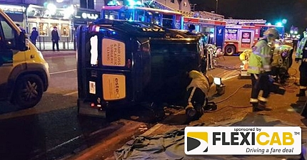 TAXI PASSENGER THROWN OUT OF WINDOW AS CAB OVERTURNS IN HORROR STRATFORD ROAD CRASH