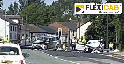 TWO MEN KILLED IN HORROR CAR CRASH INVOLVING A PRIVATE HIRE TAXI IN GREATER MANCHESTER