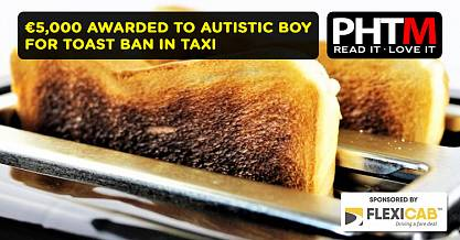 5000 AWARDED TO AUTISTIC BOY FOR TOAST BAN IN TAXI