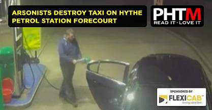 ARSONISTS DESTROY TAXI ON HYTHE PETROL STATION FORECOURT