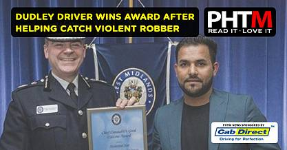 DUDLEY DRIVER WINS AWARD AFTER HELPING CATCH VIOLENT ROBBER