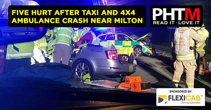 FIVE HURT AFTER TAXI AND 4X4 AMBULANCE CRASH NEAR MILTON