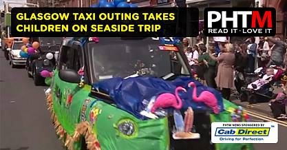 GLASGOW TAXI OUTING TAKES CHILDREN ON SEASIDE TRIP