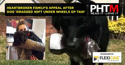 HEARTBROKEN FAMILYS APPEAL AFTER DOG DRAGGED 40FT UNDER WHEELS OF TAXI