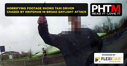 HORRIFYING FOOTAGE SHOWS TAXI DRIVER CHASED BY KNIFEMAN IN BROAD DAYLIGHT ATTACK