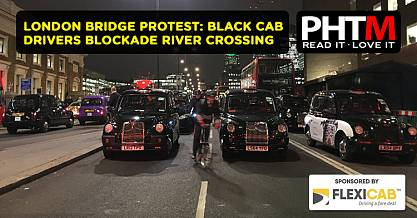 LONDON BRIDGE PROTEST BLACK CAB DRIVERS BLOCKADE RIVER CROSSING SPARKING HUGE TRAFFIC JAMS
