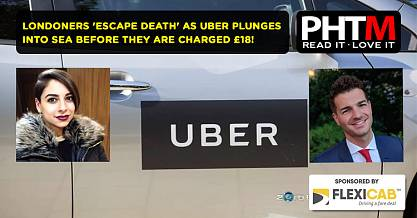 LONDONERS ESCAPE DEATH AS UBER PLUNGES INTO SEA BEFORE THEY ARE CHARGED 18 FOR FARE