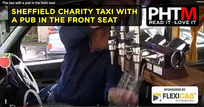 SHEFFIELD CHARITY TAXI WITH A PUB IN THE FRONT SEAT