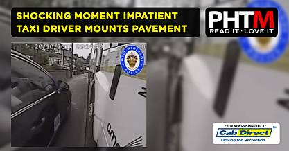 SHOCKING MOMENT IMPATIENT TAXI DRIVER MOUNTS PAVEMENT