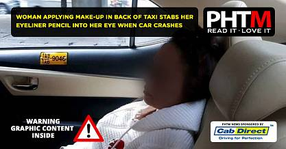 WOMAN APPLYING MAKE UP IN BACK OF TAXI STABS HER EYELINER PENCIL INTO HER EYE WHEN CAR CRASHES